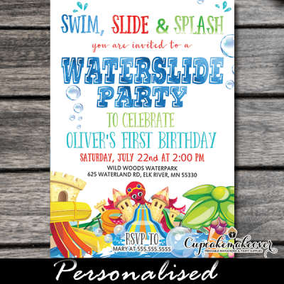 swim slide splash water slide party invitations waterpark invites summer boys girls ideas