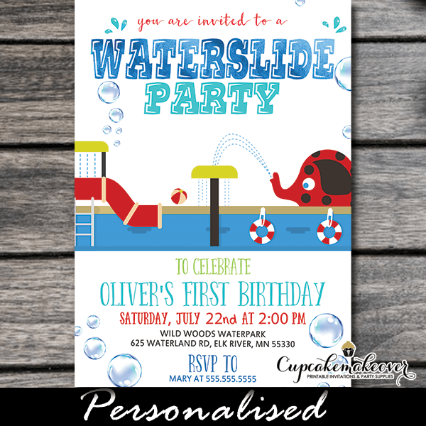 Water Slide Party Invitations Waterpark Summer First Birthday Ideas Boys Girls