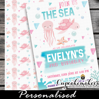 watercolor pink under the sea girl birthday invitations cute printable