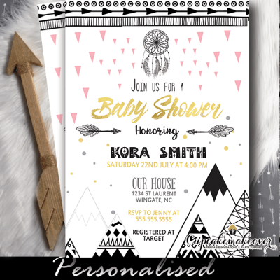 tribal baby shower invitations girl scandinavian mountain arrows dreamcatcher