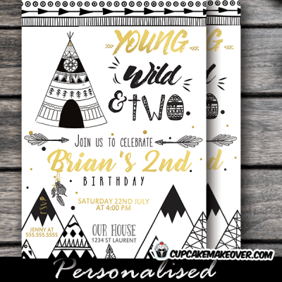 tribal birthday invitations two wild one theme Scandinavian mountains teepee adventure