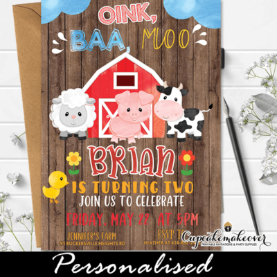 barn wood farm animals birthday invitations barnyard party boy theme