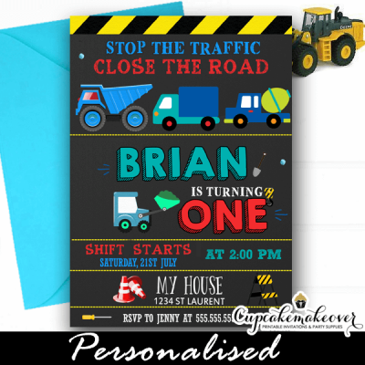 blue construction dump truck party invitations