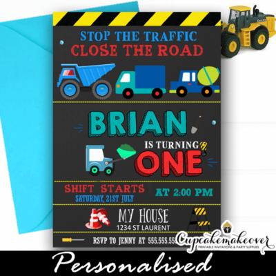 blue construction dump truck party invitations