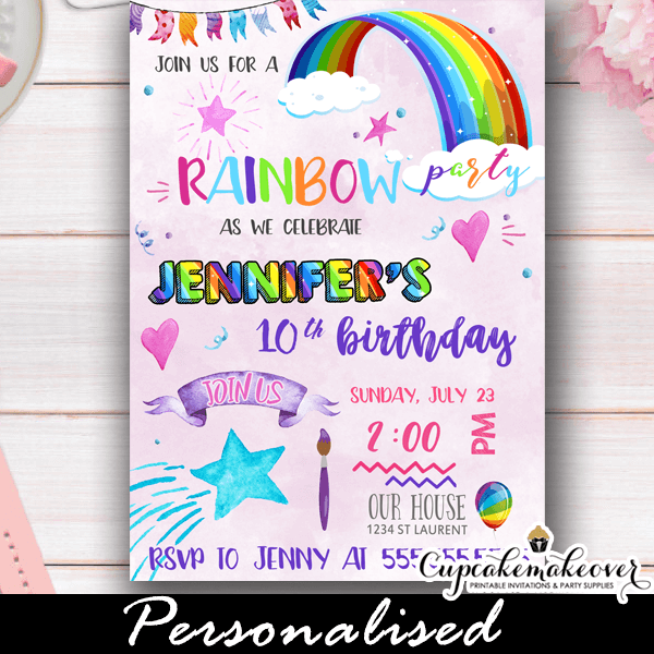 Rainbow Party Invitations Watercolor Pink Ombre