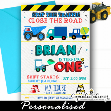 construction birthday invitations blue dump trucks boys ideas diy invites