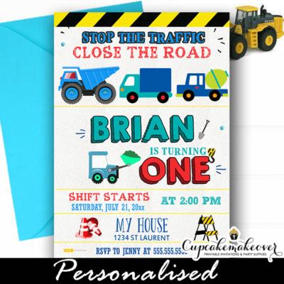 construction birthday invitations blue dump trucks boys ideas diy invites