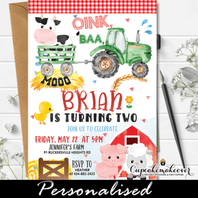 Farm Animals Tractor Birthday Invites Barnyard Party boy theme ideas