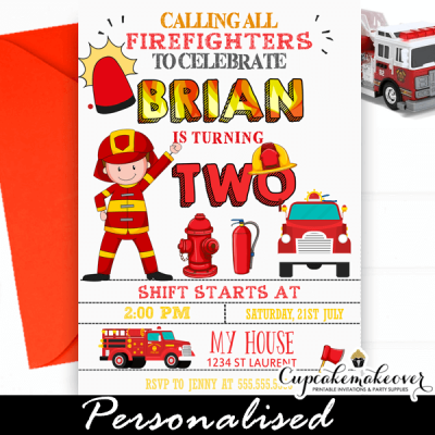 firefighter birthday invitations fire truck engine party ideas