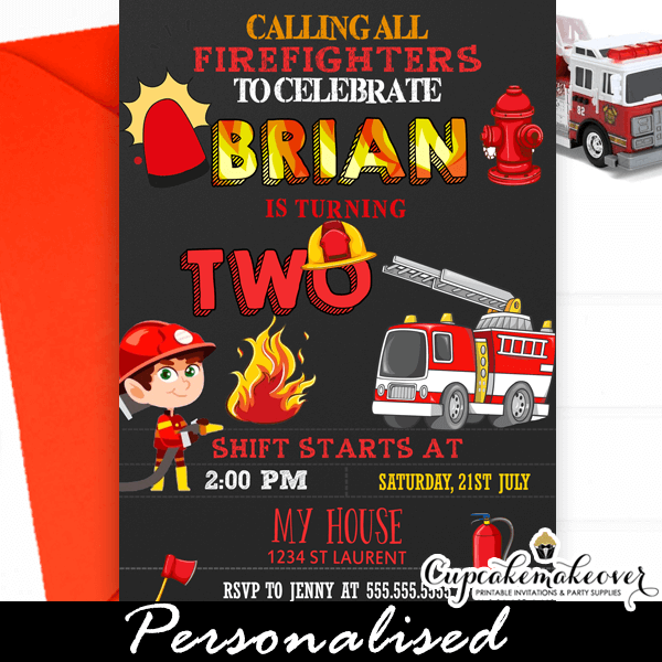 Firefighter Birthday Invitations Fireman Themed Party Cupcakemakeover