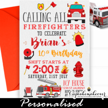 firetruck birthday invitations red engine boy ideas