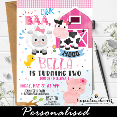 farm birthday invitations pink gingham barnyard party invites ideas animals first second third girl theme