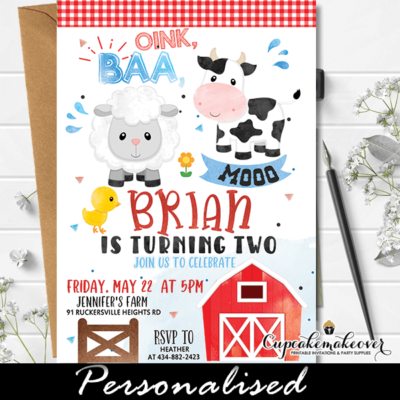 farm birthday invitations barnyard party ideas animals boy theme first second third