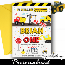 construction birthday invitations printable loads of fun truck first 1 year old ideas