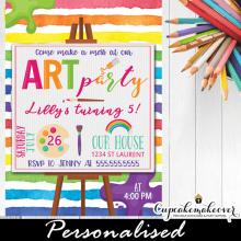 paint party invites art birthday kids rainbow colors girls boys