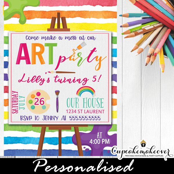 Art paint party invites rainbow canvas easel cupcakemakeover paint party invites art birthday kids rainbow colors girls boys stopboris Images