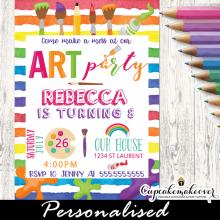 kids art party paint splatter invitations rainbow colors little artist painting birthday ideas