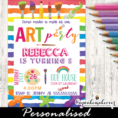 kids art party paint splatter invitations rainbow colors little artist painting birthday ideas