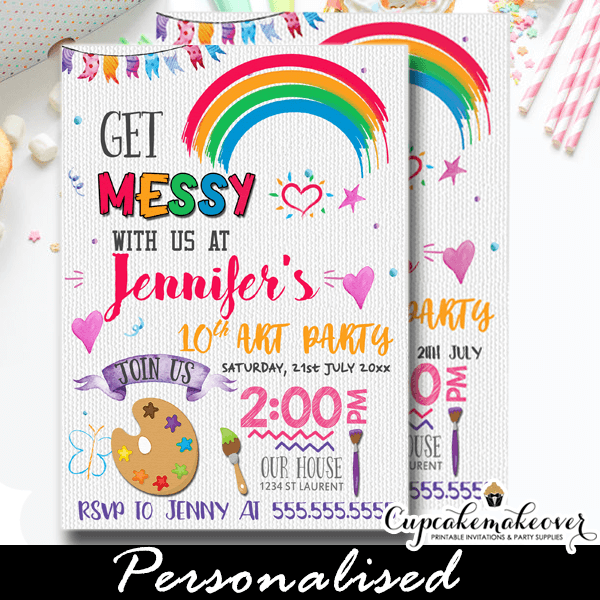 Painting Birthday Invitations Rainbow Color Palette Cupcakemakeover