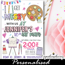 painting birthday invitations arty party doodles easel brush color palette