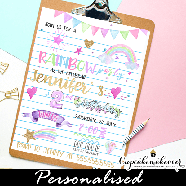 f80044576b969 Pastel Rainbow Party Invitations, Watercolor Doodles