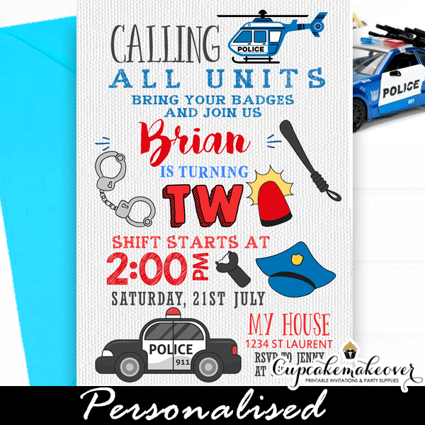 Police Birthday Invitations Cop Themed Party Cupcakemakeover