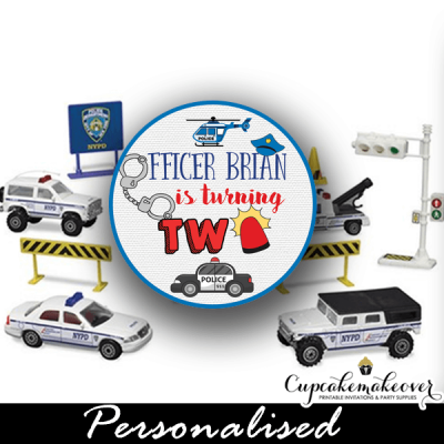 police cupcake toppers policeman birthday cake decor diy personalized tags