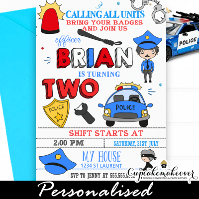 police invitations cops and robbers birthday party invites