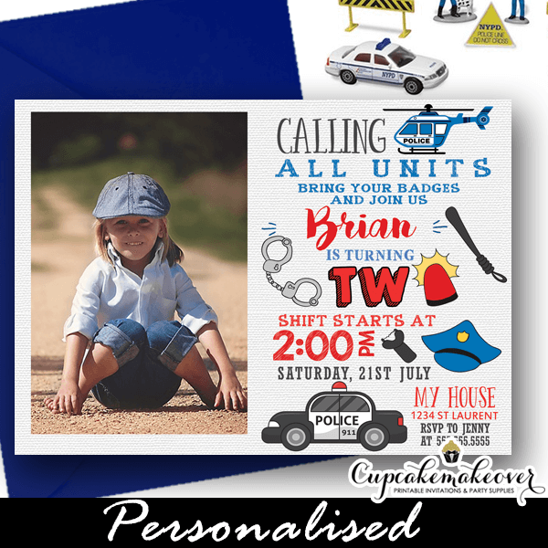 Police Birthday Invitations With Photo Cop Themed Party