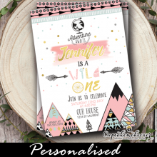 adventure awaits wild one birthday invitations girl pink gold first 1st ideas tribal