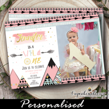 wild one birthday invitations girl with photo pink gold first 1st ideas tribal