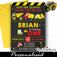 yellow construction dump truck party invitations boys trucks theme birthday ideas