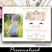 cat birthday invitations with photo gold pink floral kitty party invites