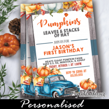 vintage blue pumpkin truck rustic wood fall birthday invites boy ideas theme