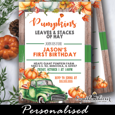 vintage green pumpkin truck rustic wood fall birthday invites boy ideas theme