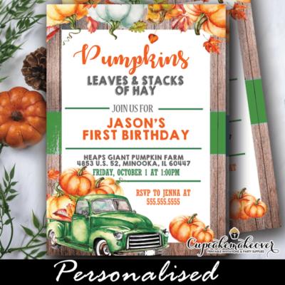 vintage green pumpkin truck rustic wood fall birthday invites boy ideas theme