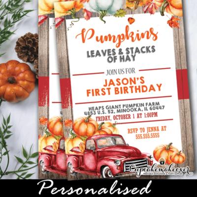 vintage red pumpkin truck rustic wood fall birthday invites boy ideas party theme