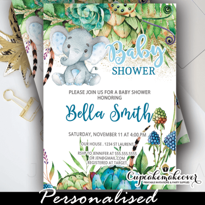 blue floral succulent plants elephant baby shower invites boy ideas cactus garden theme