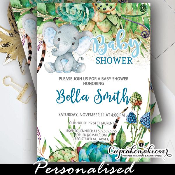 Floral Succulents Blue Elephant Baby Shower Invitations Boy