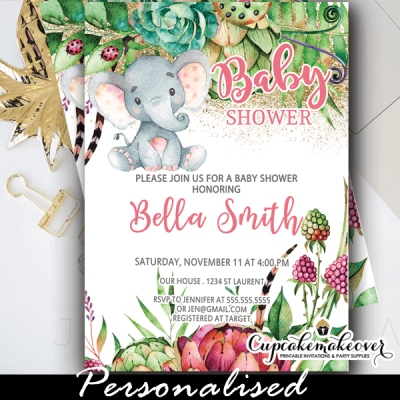 cute floral succulents pink elephant baby shower invites girl ideas