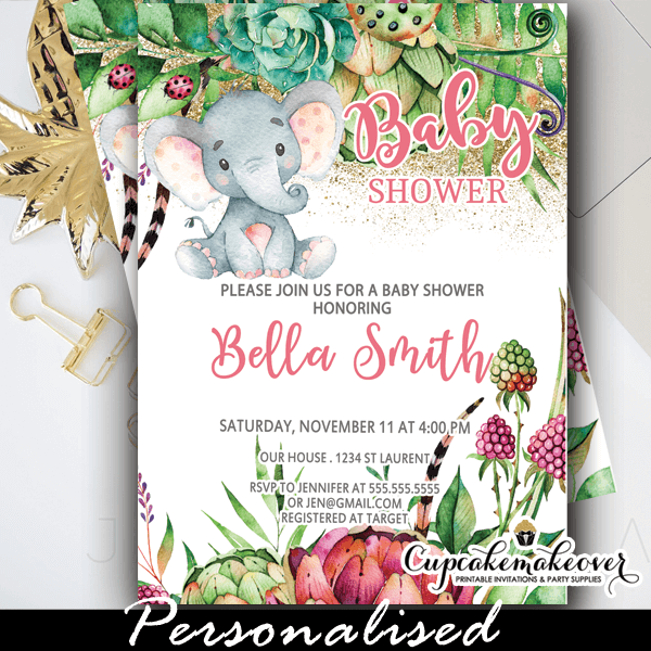 Floral Succulents Pink Elephant Baby Shower Invitations Girl