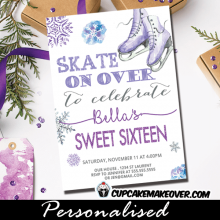 ice skating party invitations purple gray winter snowflakes birthday sweet sixteen