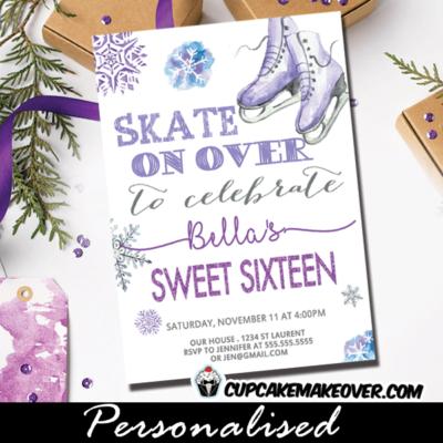 ice skating party invitations purple gray winter snowflakes birthday sweet sixteen