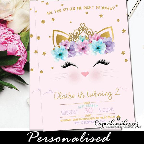 Kitty Party Invitations Pink Gold Cat Birthday