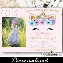 kitty party invitations with photo gold pink floral cat birthday invites
