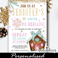 holidays gingerbread house winter onederland invitations girl first birthday