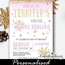 pink and gold snowflake winter wonderland invitations girl birthday party