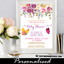 butterflies baby shower invitations spring floral pink purple theme garden