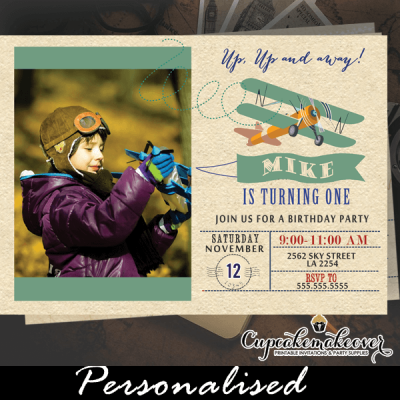 vintage airplane invitations birthday with photo teal blue boy