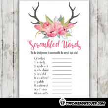pink tulips floral antlers baby shower games girl theme